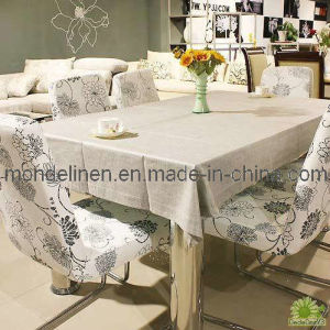 100% Linen Table Cloth in Natural Flax Color with Hand Hemstitch (TC-001)