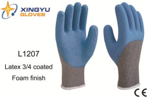 10g T/C Shell Latex Foam 3/4 Coated Safety Work Glove (L1207) pictures & photos