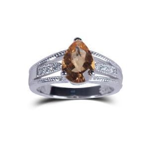 Wedding Anniversary Gift Orange Natural Stone J925 Silver Ewelry Ring