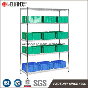 Warehouse Factory NSF 4 Tiers Adjustable Chrome Metal Storage Wire Shelving Rack System pictures & photos