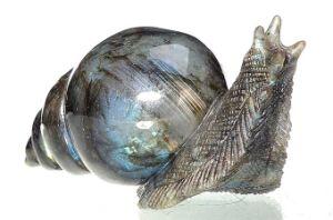 Natural Labradorite Carved Snail Sculpture Home Decoration #Aj04
