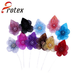 Protex 2015 Different Color for New Design Organza Flower pictures & photos
