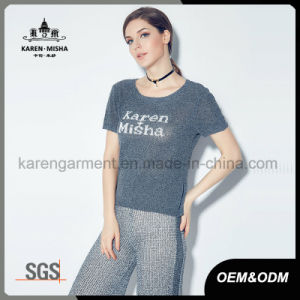 Ribbed Round Neck Short Sleeve Women Customized Logo Knitted Shirt pictures & photos