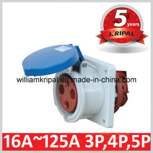 IP44 63A 2p+E 230V Single Phase Panel Mounted Socket pictures & photos