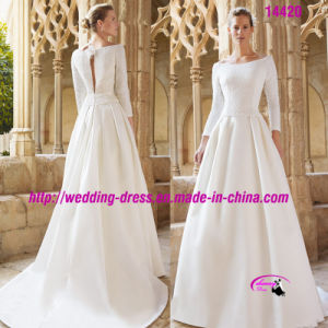 off-Shoulder Full Length Dress Wedding with Long Sleeve pictures & photos