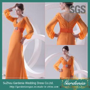 Orange Chiffon Women Evening Maxi Dress SGS Real Image Long Sleeve Mother of The Bride Dress (GDNY182)