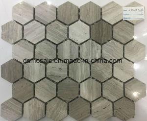 Wooden Grain Grey Hexagon Marble Mosaic Tile pictures & photos