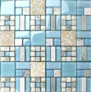 Glass Mix Stone Mosaic Tile for Background Wall Tiles pictures & photos
