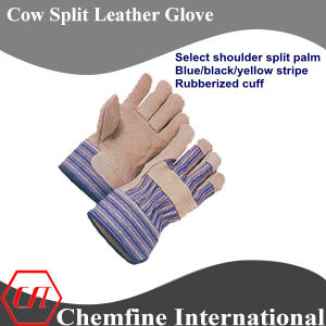 Select Shoulder Split Palm, Blue/Black/Yellow Stripe, Rubberized Cuff Leather Work Gloves pictures & photos