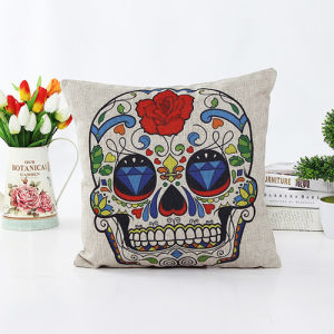 New-Style Skull Cushion Faux Linen Transfer Print Pillow (LPL-608) pictures & photos