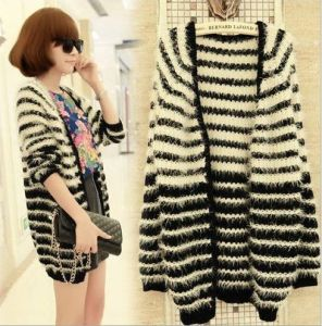 Mohair Cardigan Sweater Horizontal Stripe (BTQ012) pictures & photos