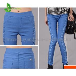 2015 New Autumn Women′s Cotton Lace Elastic Trousers Girls Slim Pants