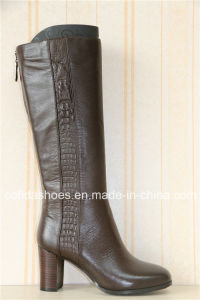 Trendy Thick High Heels Leather Women Boots pictures & photos