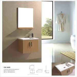 Simple Wall-Mounted PVC Bathroom Vanity with Mirror pictures & photos