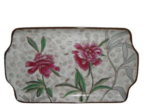 Ceramic Rectangular Tray /Square Saucer/ Flower Hand Painting Plate (FM4385A)