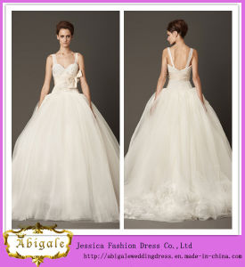 2014 Charming Ball Gown Sleeveless Tulle with Hand-Made Flower Spaghetti Strap Sweetheart Low Back Wedding Dress (hs005)