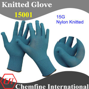15g Dark Blue Nylon Knitted Glove with Black Over Lock pictures & photos