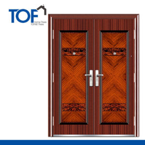 Decorated High Quality Steel Exterior Security Double Swing Door