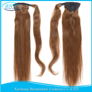 Human Hair Ponytail 100g 120g Straight Virgin Human Hair Ponytail Extensions Clip in Human Hair Drawstring Ponytails pictures & photos