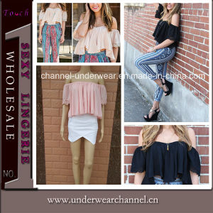 2015 Lady Summer Blouses Chiffon Crop Tops (TKYA309) pictures & photos