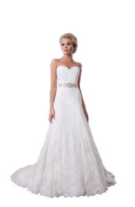 New White A-Line Lace Bridal Wedding Dress (SCL-WD003)