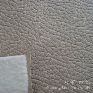 Polyester Leather Suede Fabric with Hot Stamping Process pictures & photos