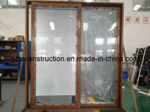 Sliding Door Aluminum Clad Wood Sliding Door with Blind Inside (TS-364) pictures & photos