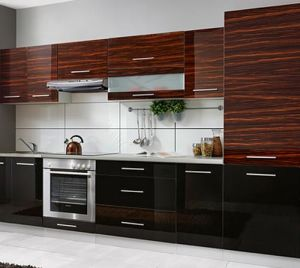 China Glossy Woodgrain Shaker Plastic Kitchen Cabinet (ZHUV ...