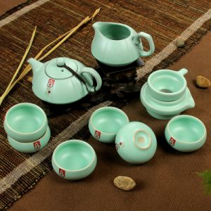 8PCS Pumpkin Shape Gray / Green /Stone Color Celadon Tea Set (RY006)