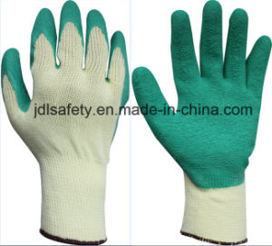 Blue Work Glove with Wrinkle Latex Coating (LY2012) pictures & photos