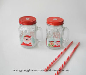 Decal Glass Cup /Mason Jar Mug with Matel Cover for Christmas Celebrate pictures & photos