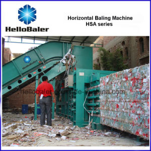 Hellobaler Horizontal Waste Cardboard Baling Machine Hsa4-5 pictures & photos