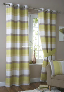 2 Layers Curtain Stripe Fabric on Top with Linen Curtains pictures & photos