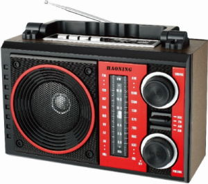 Portable Radio with USB/SD and Rechargeable Battery and Wooden Cabinet (HN-2213UAR)