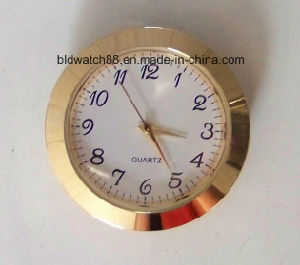 Promotional Analog Quartz Small Metal Insert Clock Golden Mini Clocks pictures & photos