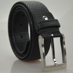 Top Grain Cowhide Black Men′s Genuine Leather Belt (B-04) pictures & photos