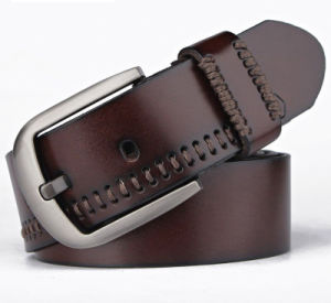 Retro 100% Pure Leather Men′s Belt Pin Buckle High Quality pictures & photos