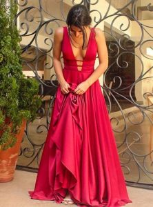 Satin Party Prom Gowns A-Line Backless Sexy Evening Dresses Z5011 pictures & photos