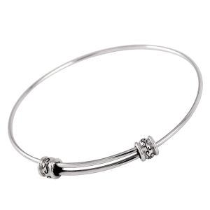 Steel Vintage Enamel Ball Charm Expandable Wire Bangle Bracelet pictures & photos