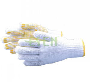 62g Industrial Used Safety Working Cotton DOT Gloves with Yellow PVC pictures & photos