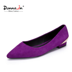 Lady Hollow-Metal Design Pointed Toe Suede Leather Flat Women Shoes pictures & photos