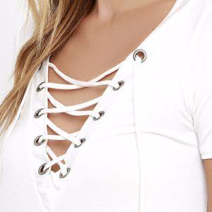 Ladies Fashion Knitting V-Neck Bandage Blouse pictures & photos
