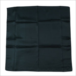 New Design Solid Black Color Uniform Printed Silk Polyester Logo Scarf (SF-017) pictures & photos
