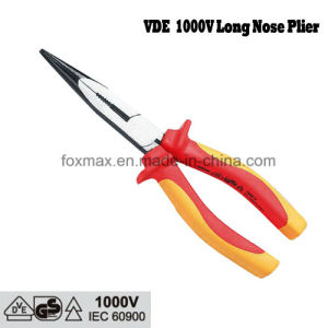 1000V VDE Insulated Long Nose Plier with TPR Handle pictures & photos
