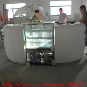 Cafeteria Shop Bar Furniture Countertop White Half Round Corian Marble Cafe Counter pictures & photos