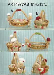 Chrsitmas Home Decoration Gingerbread Basket-2asst pictures & photos