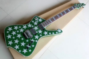 Hanhai Music/Green Electric Guitar with White Stars Pattern pictures & photos