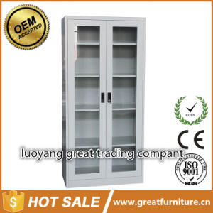 Glass Door Office Storage Adjustable Shelves Solid Steel Fling Cabinet pictures & photos
