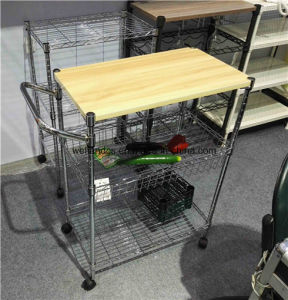 Adjustable Chrome Multi-Functional Metal Kitchen Cart with Hook (TR903590B3C) pictures & photos