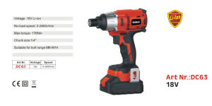 Black and Red Color 2800r/Min 18V Li-ion Cordless Screwdriver pictures & photos